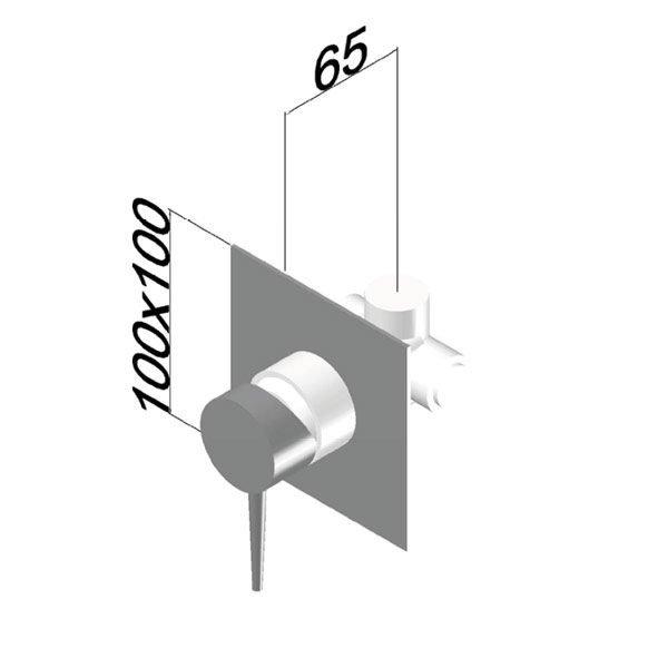 Rubinetto Miscelatore doccia parte esterna 1 via piastra quadra Stilnovo Foto 3