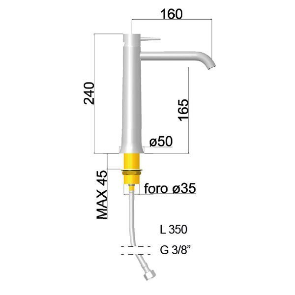 Rubinetto Miscelatore lavabo medio senza scarico Ponsi serie Stilnovo Foto 2