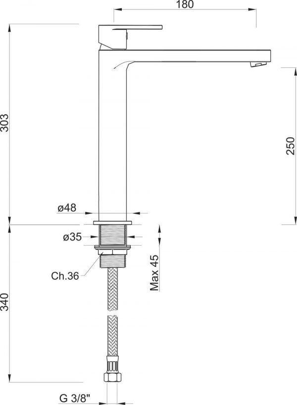 Rubinetto Miscelatore lavabo alto senza scarico Ponsi Versilia Cromato Foto 2