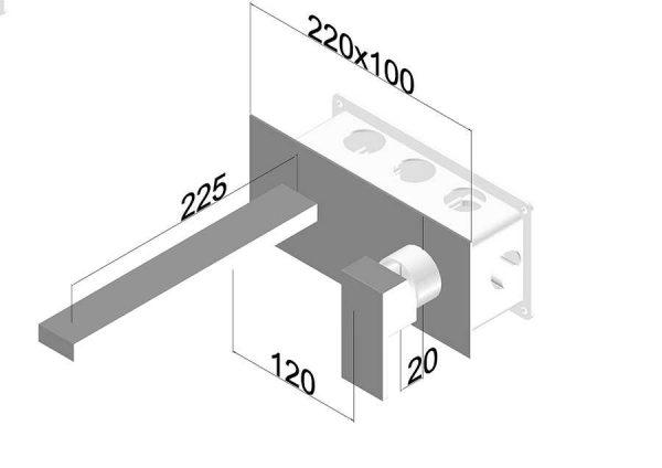 Rubinetto Miscelatore set esterno a parete bocca 225 mm Ponsi Italia Riscelatore set esterno a parete bocca 225 mm Ponsi Italia R Foto 3