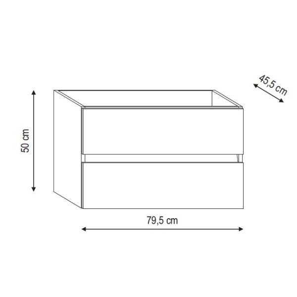 Base per lavabo integrato Ponsi serie Smile H 50 x P 45,5 x L 79,5 cm Foto 3
