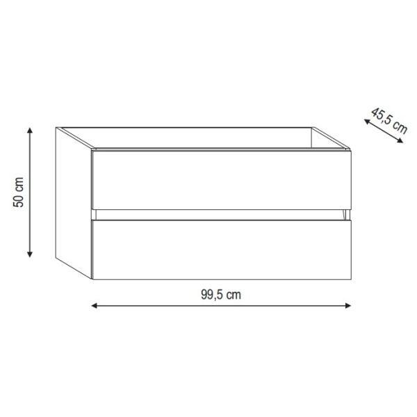 Base per lavabo integrato Ponsi serie Smile H 50 x P 45,5 x L 99,5 cm Foto 3