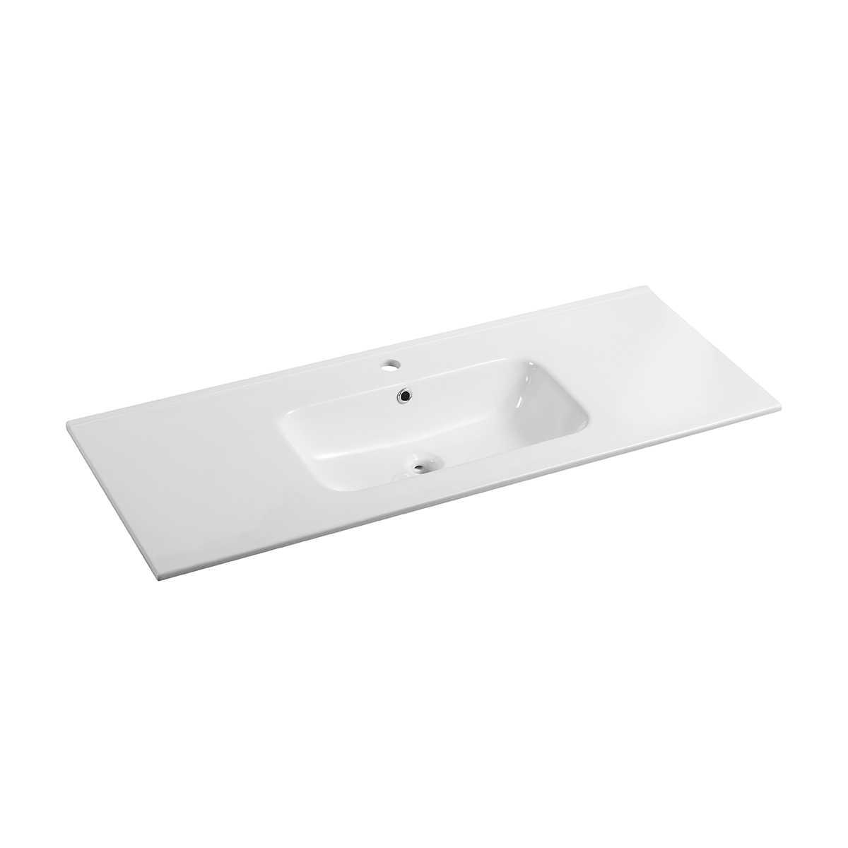Lavabo integrato in ceramica Ponsi serie Moon bianco lucido L 100 cm Foto1