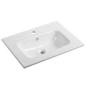 Lavabo integrato in ceramica Ponsi serie Moon bianco lucido L 60 cm Foto 1