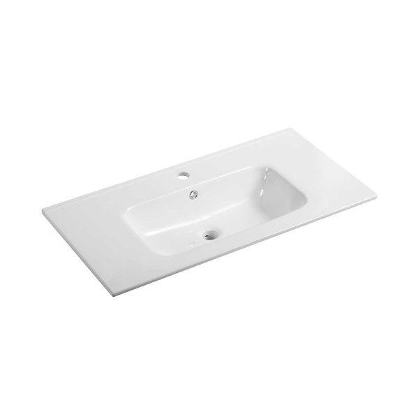 Lavabo integrato in ceramica Ponsi serie Moon bianco lucido L 80 cm Foto 1