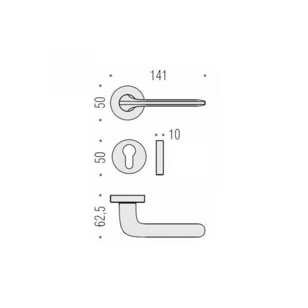 Maniglia per porta da interno Colombo Design Roboquattro ID41 Cromat Foto 4