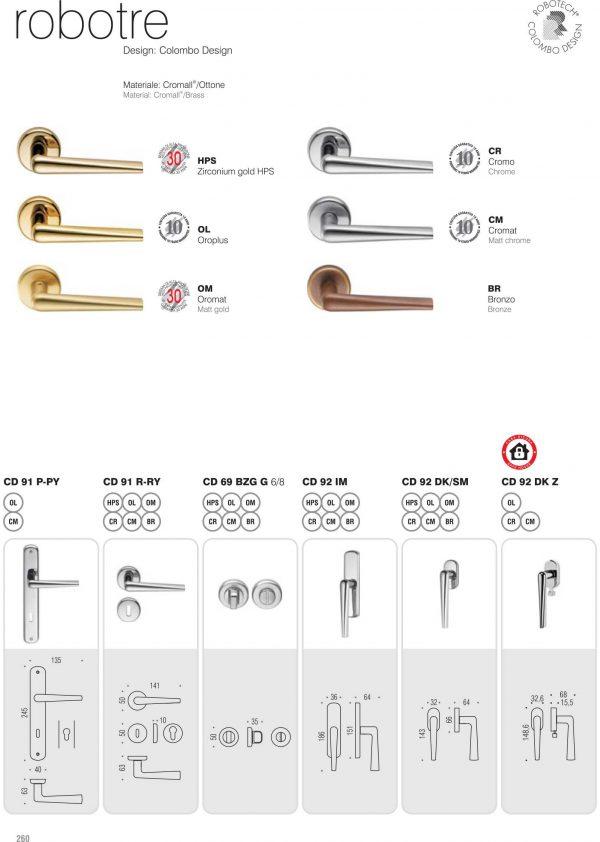 Maniglia per porta da interno Colombo Design serie Robotre CD91 Cromo Foto 3