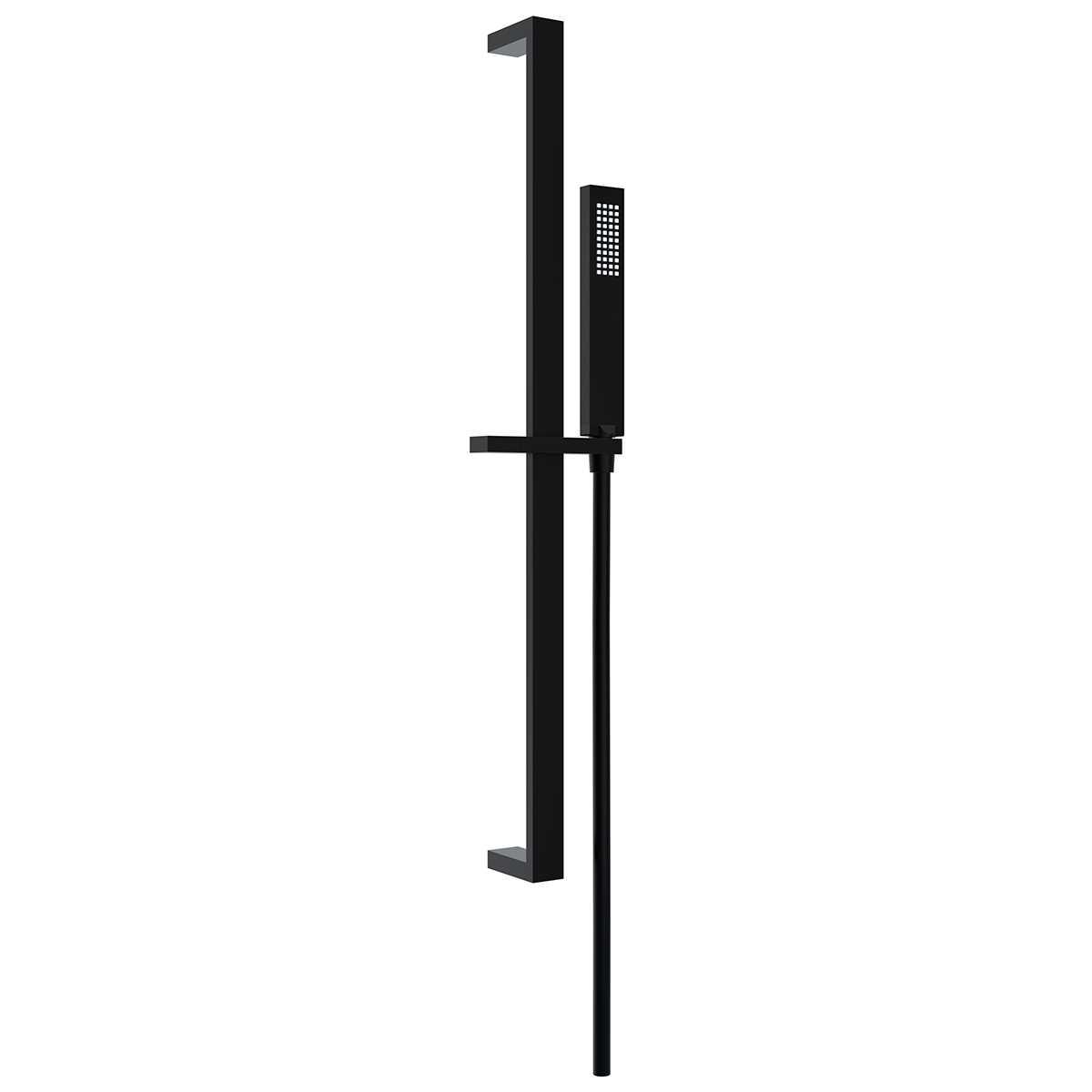 Ponsi Asta doccia Square rettangolare in ottone nero opaco doccetta Flat Foto 1