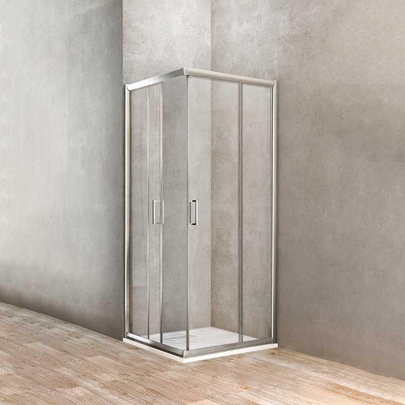 Box doccia angolare quadrato 2 porte scorrevoli 68-70 x 68-70 Ponsi Gold