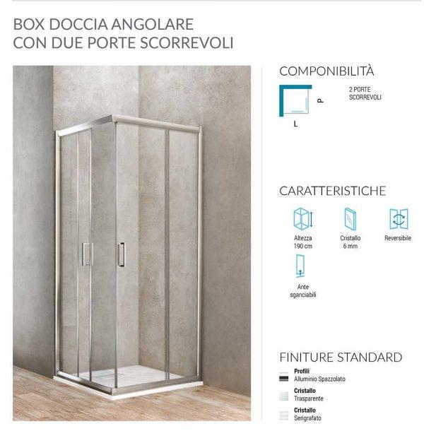 Box doccia angolare quadrato 2 porte scorrevoli 73-75 x 73-75 Ponsi Gold Foto 2