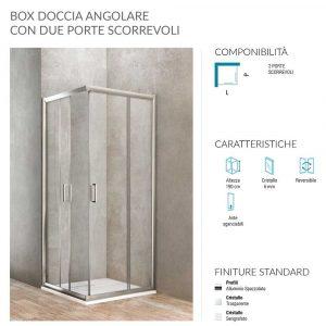 Box doccia angolare rettangolare 2 porte scorrevoli 68-70x88-90 Ponsi Gold Foto 2