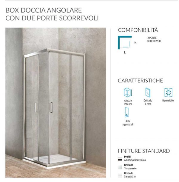 Box doccia angolare rettangolare 2 porte scorrevoli 68-70×88-90 Ponsi Gold Foto 2