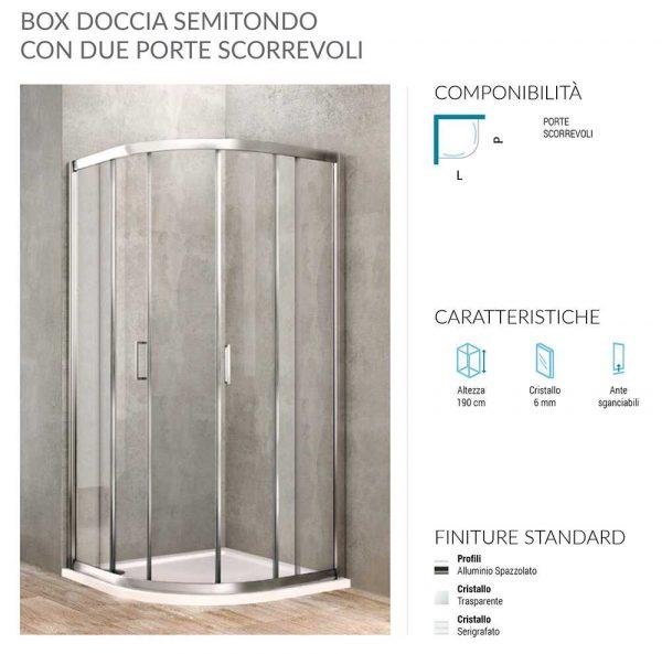 Box doccia semicircolare 2 porte scorrevoli 88-90 x 88-90 Ponsi Gold Foto 2