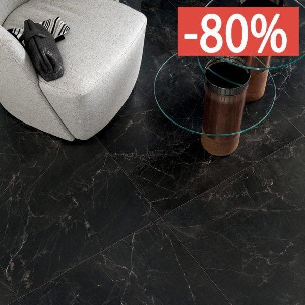 Pavimento gres porcellanato effetto marmo Gardenia Orchidea Infinity Black 80×80 Unique