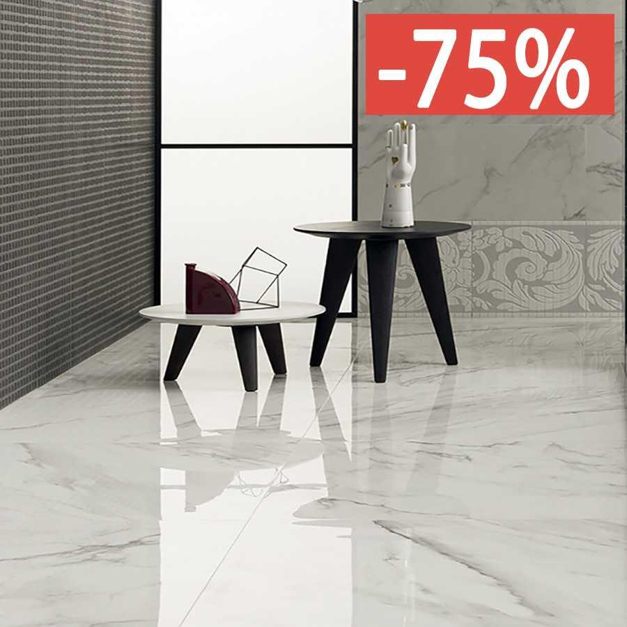 Pavimento gres porcellanato effetto marmo Gardenia Orchidea Statuario Venato 80x80 Unique