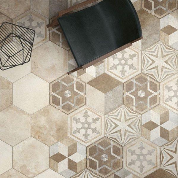 Pavimento Gres porcellanato Fioranese Ceramica decoro Exagona Text. 1