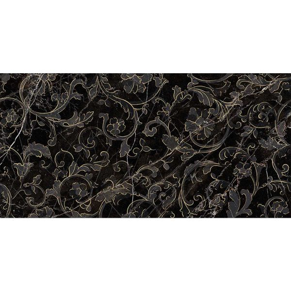 Versace ceramics Emote 39×78 Decoro floreale nero