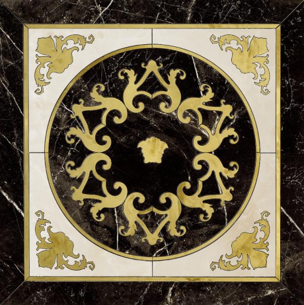 Versace ceramics Emote 78×78 Cassettone nero-bianco
