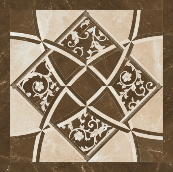 Versace ceramics Emote 78×78 Pulpis crema-marrone intarsio