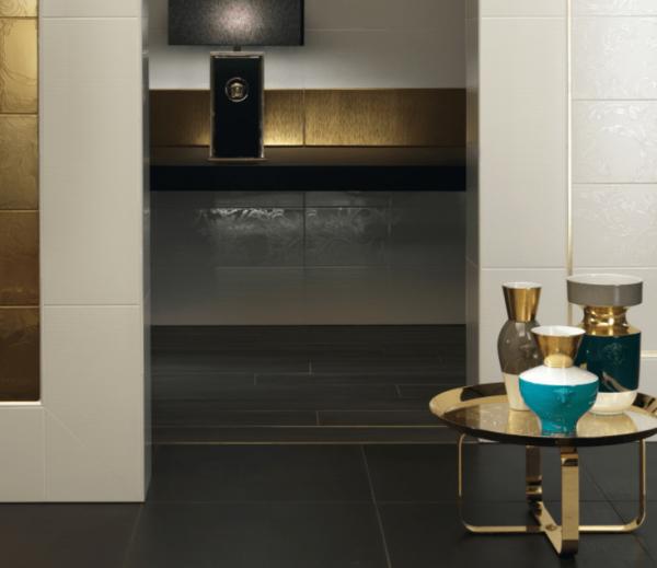 Versace ceramics Gold 25×75 pavimento 20×120 Legno antracite interno