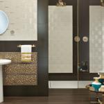 Versace ceramics Gold 25×75 pavimento 20×120 Legno noce scuro interno