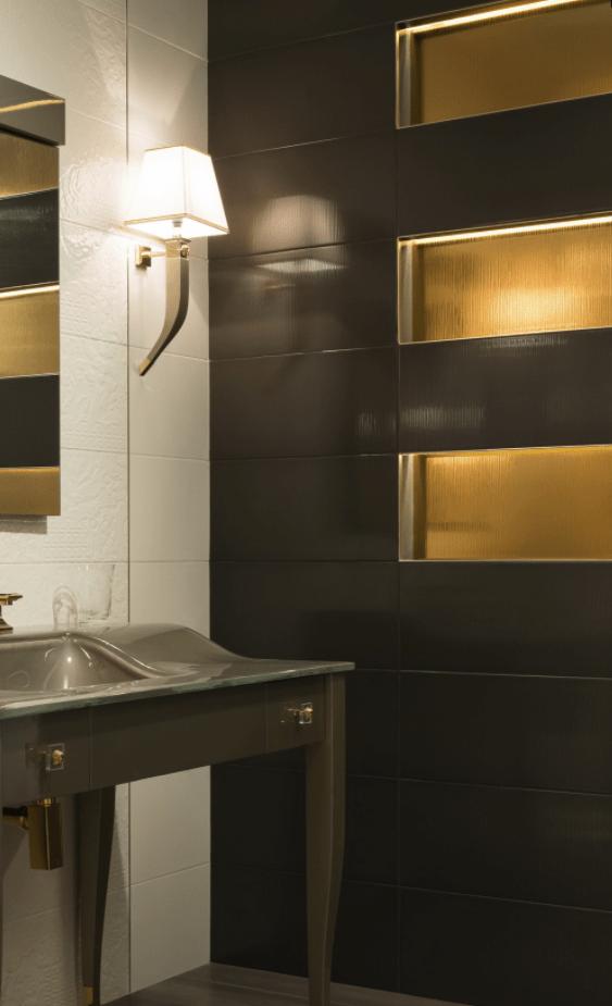 Versace ceramics Gold 25×75 rivestimento decoro riga oro interno_2